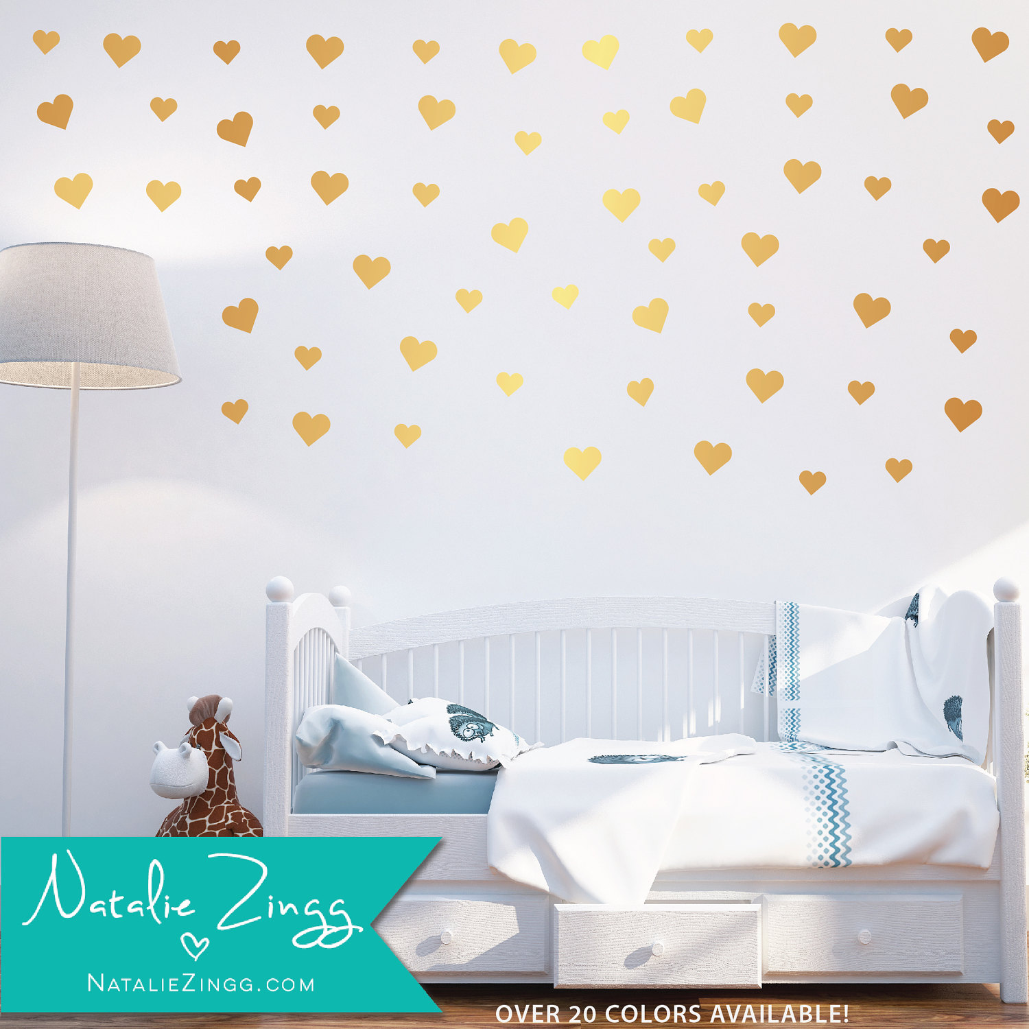 Gold Heart Decals, Nursery Decor , Heart Decals, Fast Shipping